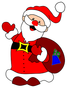 Santa Claus with sack of gifts clipart