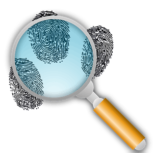 Fingerprint search with magnification clipart