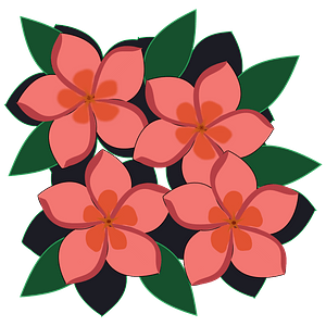 Pink impatiens flowers clipart