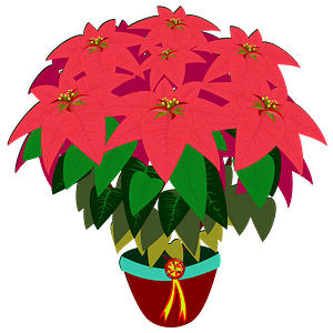 Red poinsettia in a brown pot clipart