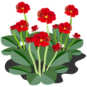 Red flowers and stems clipart