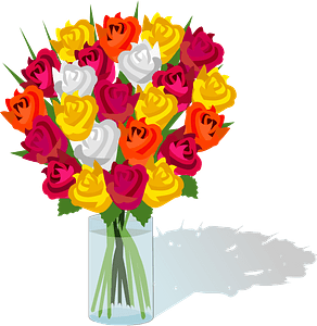 Rose bouquet in a glass vase clipart