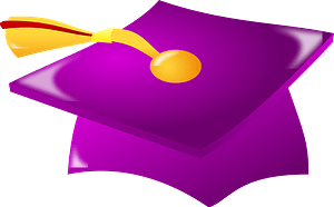 Purple graduation mortarboard with tassel clipart