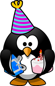Fat penguin ready for a birthday party clipart