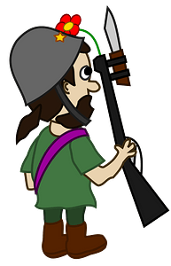 Comic characters: hippie soldier carrying rifle clipart