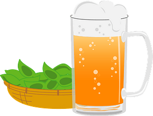 Beer and Edamame Beans clipart