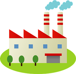 Factory with Smokestacks clipart