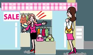 Woman Shopping at a Clothes Shop clipart