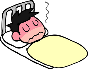 Man is in Bed Sick with Fever clipart