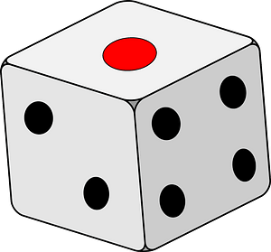 White Dice with Black and Red Spots clipart