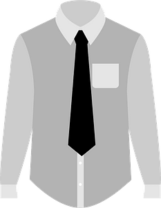 Dress Shirt and Necktie - Grayscale clipart