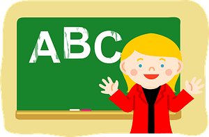 Teacher is at the Chalkboard clipart