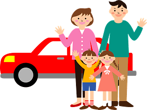 Family in Front of Their Car clipart