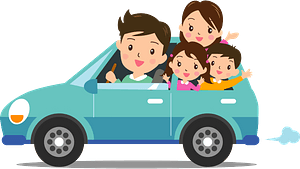 Family on a road trip clipart