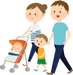 Family - Father, Mother, Toddler, and Baby clipart