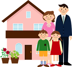 Family is Standing Outside Their Home clipart