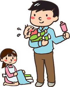 Father, Mother, and Baby as a Family clipart