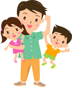 Father with Son and Daughter clipart