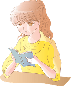 Girl is Reading a Book clipart