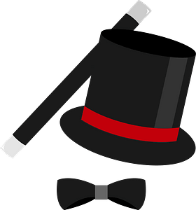Magic Top Hat, wand, and bowtie clipart