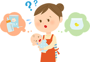 (Sophia) Mother is Holding a Crying Baby and Wondering What to Do clipart