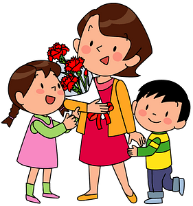 Children are Giving Flowers for Mothers Day clipart