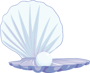 Pearl Gemstone in a Shell clipart