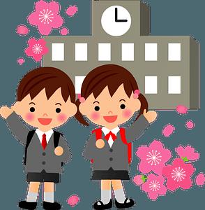 Schoolgirl and Schoolboy are in front of school building clipart