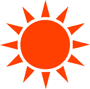Red Sun with Rays clipart