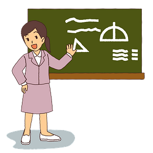 Teacher is at the Blackboard clipart