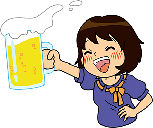 Woman is Drinking Beer clipart