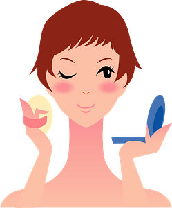 Woman is Putting on Make up clipart