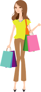Woman is Holding Shopping Bags clipart