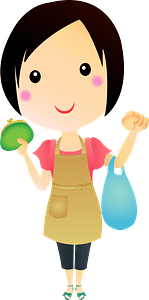 Woman is Holding a Wallet and a Shopping Bag clipart