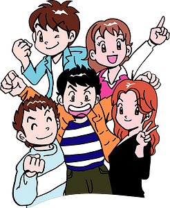 Five Young People clipart