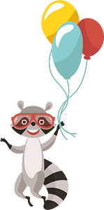 Racoon flying on air balloons 클립 아트