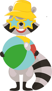 Racoon with a ball clipart
