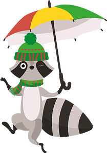 Racoon with umbrella clipart