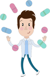 Doctor joggling with pills clipart