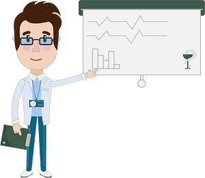 Doctor presents graph clipart