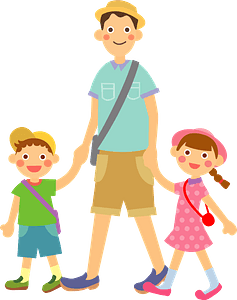 Father is Walking with Son and Daughter clipart