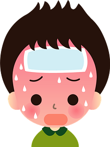 Boy is Sick with Fever and Cold clipart