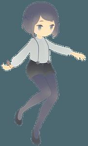 Anime Girl - Grayscale clipart