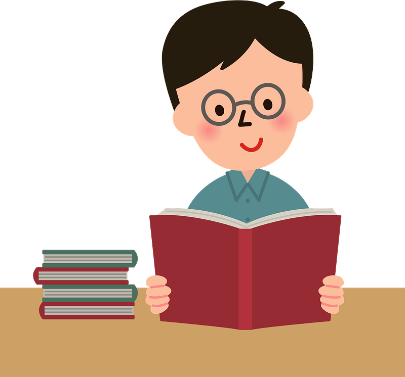Man is Reading a Book clipart