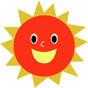 Red Sun with a Smiling Face and Gold Rays clipart