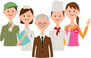 Group of Workers with Different Jobs clipart
