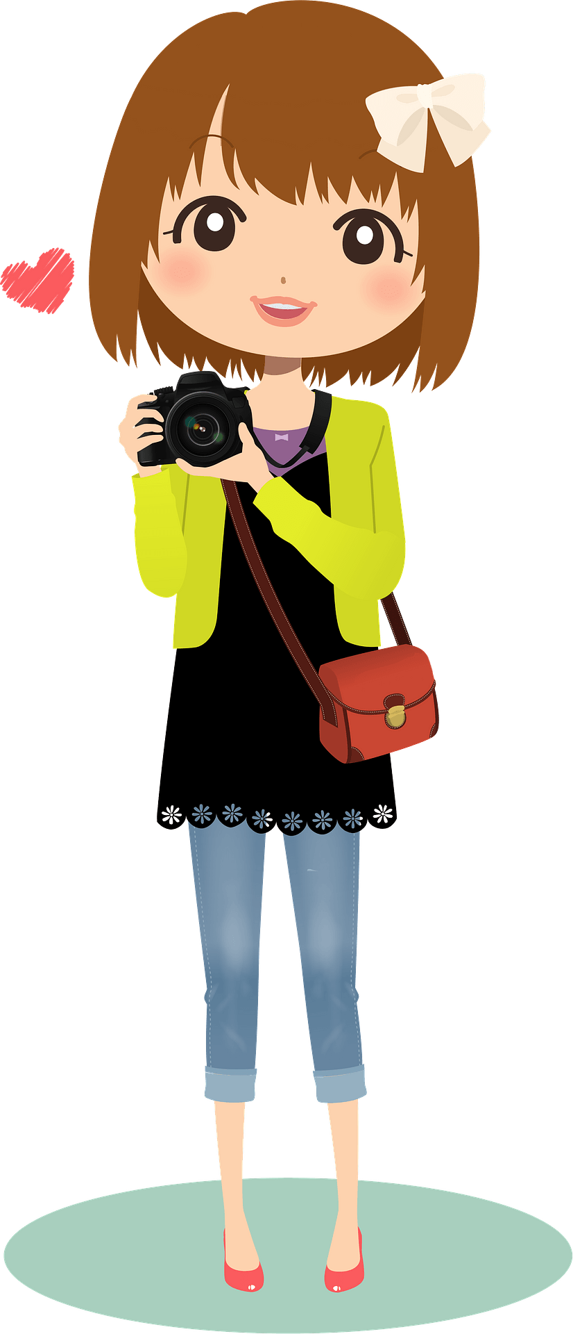 Girl with Camera Clip Art