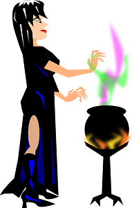 Witch with Cauldron clipart