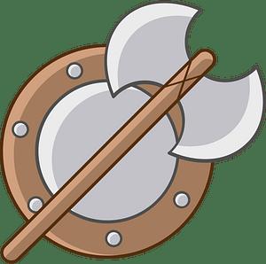 Viking shield and axe 클립 아트