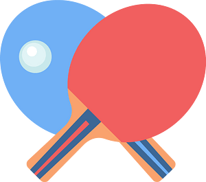 Table tennis racket and ball clipart